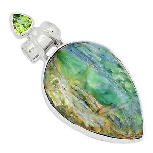 Mermaid Kyanite & Peridot 925 Sterling Silver Pendant Jewelry ALLP-4857