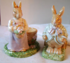 Avon Springtime Collection Mr & Mrs Rabbit Easter Tealight/Egg Holder Set
