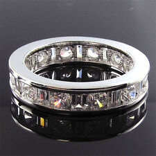 ITEM GR30085 14K Solid Gold 2ct Total CZ Round & Baguette Eternity Band Ring