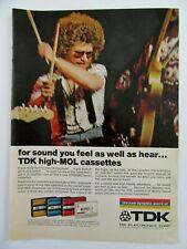 1973 TDK Electronics Dynamic Cassette Tapes Rock Band magazine Print Ad
