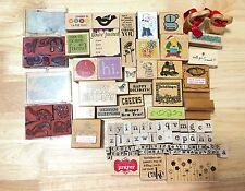 rubber stamps lot mounted wood animals greetings alphabet border floral brithday