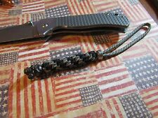 Paracord knife lanyard Blk & digital camo black rose skull and stainless bead 2