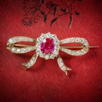 Antique Edwardian Diamond Verneuil Ruby Brooch 18ct Gold Circa 1910.