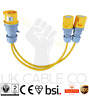 110V 32 AMP Plug to 2x 16 AMP Sockets Splitter 2 Way 2.5mm Arctic Yellow Cable