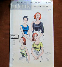 Scoop Neck Blouses Size 14 Vintage Sewing Pattern Butterick 8206