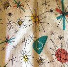 2 Starburst Barkcloth Curtain Panels Vintage Colorful 1950's Vintage