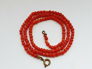 Art Deco 1930s Salmon Natural Coral Beaded Necklace 8.8gr