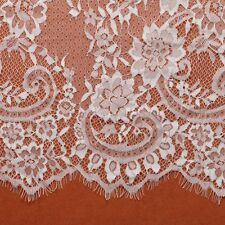 ZB-F30302 3 Metre Long 150cm Wide White / Back Flower Lace Fabric