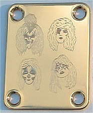 Engraved Etched GUITAR NECK PLATE - KISS Faces Ace Gene Paul Peter - GOLD