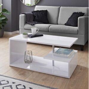 Hampton Contemporary White High Gloss Surface 2 Tier Coffee Table