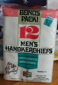 Vintage Kmart Men's White Stripe Handkerchiefs Poly Cotton 16 x 16 inch 12 Pack