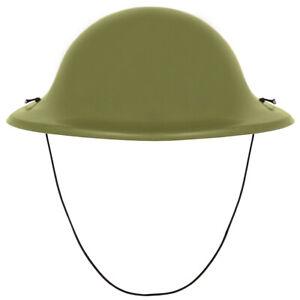 GREEN ARMY HELMET PLASTIC HAT WW2 SOLDIERS VE DAY ADULTS CHILDS FANCY DRESSS