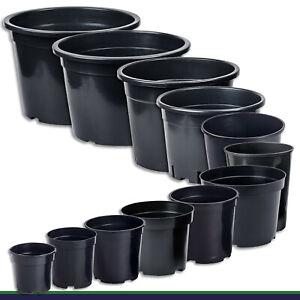 Pot de Fleur Pot à Fleurs Noir Rond 12 Tailles au Choix