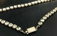 Vintage STERLING Rhinestone Choker Necklace SPARKLE OLD HOLLYWOOD GLAM Holiday