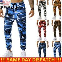 Men Camouflage Camo Cargo Combat Army Pants Joggers Sport Sweatpants Trousers