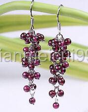 Red Garnet Beads Cluster Grape White 925 silver Hook Earrings 4mm