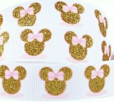 "1"" 2Yds Minnie Mouse Grosgrain Ribbon Cards Hair Bows Gift Wrap Scrapbks Glitter"