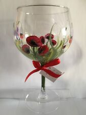 Hand Painted Gin Glass Boxed Wild Poppy Personalised mothers day friend, Family