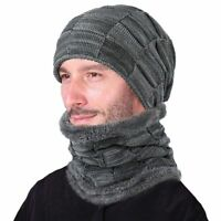 Soft Warm Winter Hat and Scarf Set For Men Knitted Cap from Wool and Cotton