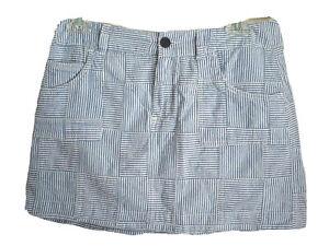 "Tommy Hilfiger Indian Cotton Patchwork Skirt Blue & White Striped Waist 30"" S"