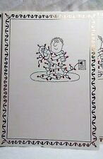 15 Vintage 1980's Christmas Cards Man in Tangled Red Lights Cartoon Graphic Foil