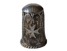 Dé à Coudre en Argent 925 Filigrané Décor Croix de Malte Antique Silver Thimble