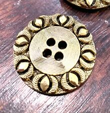 5 X Round 4 Hole Brushed Gold Buttons 30mm Flower Geometric Jacket Filigree