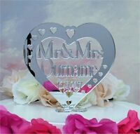 Personalised Wedding Heart Cake Topper Mr & Mrs Name Keepsake Mirror Acrylic c