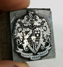 Vintage SIGMA ALPHA EPSILON Letterpress Printing Block Metal Stamp Crest Shield