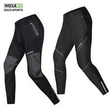 WOSAWE Mens Cycling Pants PU Leather Winter Thermal Fleece Bike Bicycle Trousers