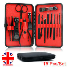 15 Pcs Stainless Steel Manicure Set Pedicure Kit Nail Care Women Men Gift UK