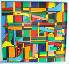 Chuck Royston Original Painting on Canvas Geometric Abstract Bright Colors