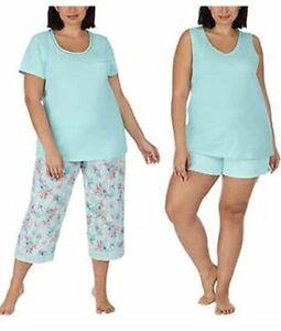 Carole Hochman Pajama Lounge  4 PC Aqua Size LARGE Knit Stretch NEW