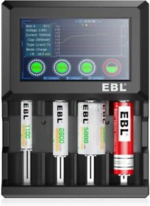 EBL Universal Battery Charger Touch LCD Display AA AAA C Rechargeable Batteries