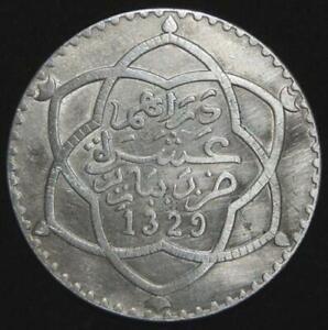 AH 1329 (1911) SILVER MOROCCO RIAL (10 DIRHAMS) COIN AU CONDITION