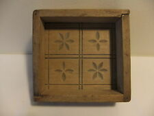 Vintage Early 1900's Antique Square Butter Mold Mould Box Press Design Top