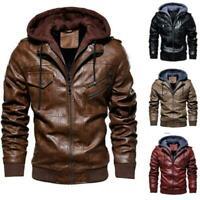 Plus Size Casual Men's Hooded Leather Jacket Slim Biker Zipper Winter Coat