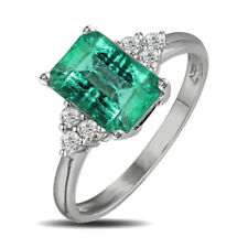 Quality Emerald & Diamond Emerald cut White Gold Solitaire engagement Ring