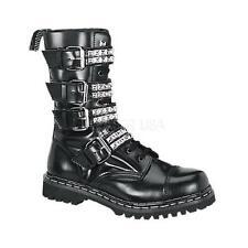 Demonia Gravel-10S goth punk biker combat black leather boots men's 9 CLOSEOUT