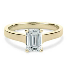 14K Yellow Gold 1 Carat Emerald Cut Moissanite 4 Prong Solitaire Engagement Ring