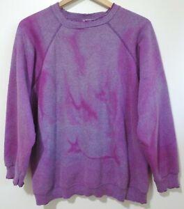 M/L Vtg Early 90s Purple Faded Distressed Thrasher Skate Grunge 50/50 Sweatshirt
