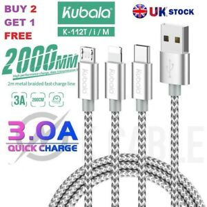 Charger Cable 3 A / Micro USB / Type C USB / iPhone / iPad USB /2 M Charging UK
