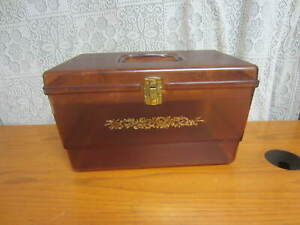 Vintage WIL-HOLD Wilson Plastic Amber Sewing Box with 2 Trays
