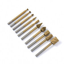 10PCS/set Titanium Routing Rotary Milling Drill Grinder Cutter Woodworking Tools