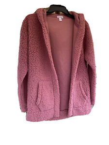 JR WOMENS XS  ROSE OPEN CARDIGAN  FLIRTITUDE ACTIVE HOODED WITH POCKETS