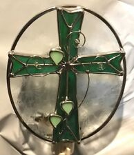 Stained Glass Green with Hearts Cross Night Light New [9009-12]