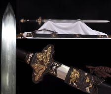 "Hand Forge Chinese Sword ""Qing Jian""(劍) Pattern Steel Brass Sharp Ebony Sheath"