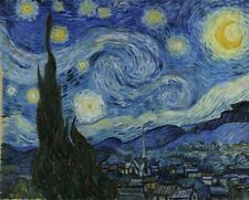 VINCENT VAN GOGH STARRY NIGHT blue stars sun art print reproduction on canvas