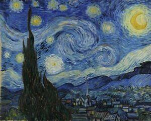 VINCENT VAN GOGH STARRY NIGHT blue stars sun art print reproduction on canvas