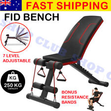 UPGRADED Adjustable Weight FID Bench Fitness Flat Incline Gym Home Steel Frame